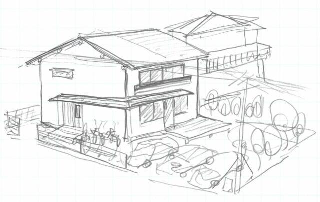 当社の一級建築士による、新築の仮プランのスケッチ(2階建て)