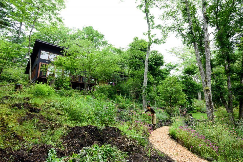 庭の最上部にはオープン予定のカフェ