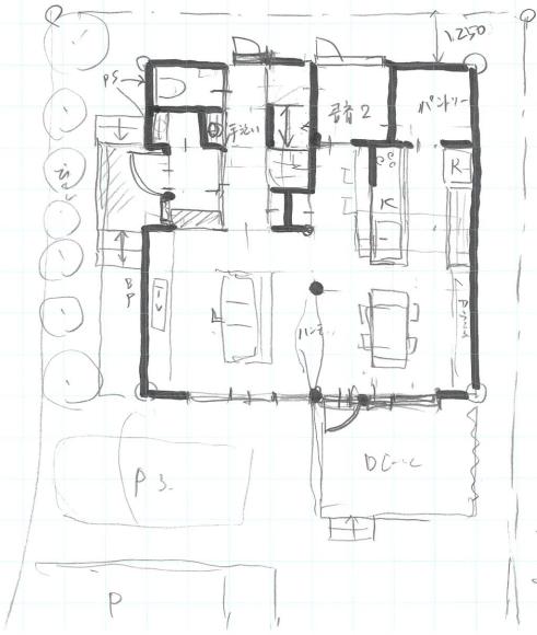 仮プランのスケッチ(1階)