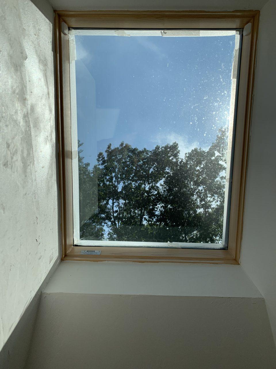 天窓からは空と森の木々が見える。