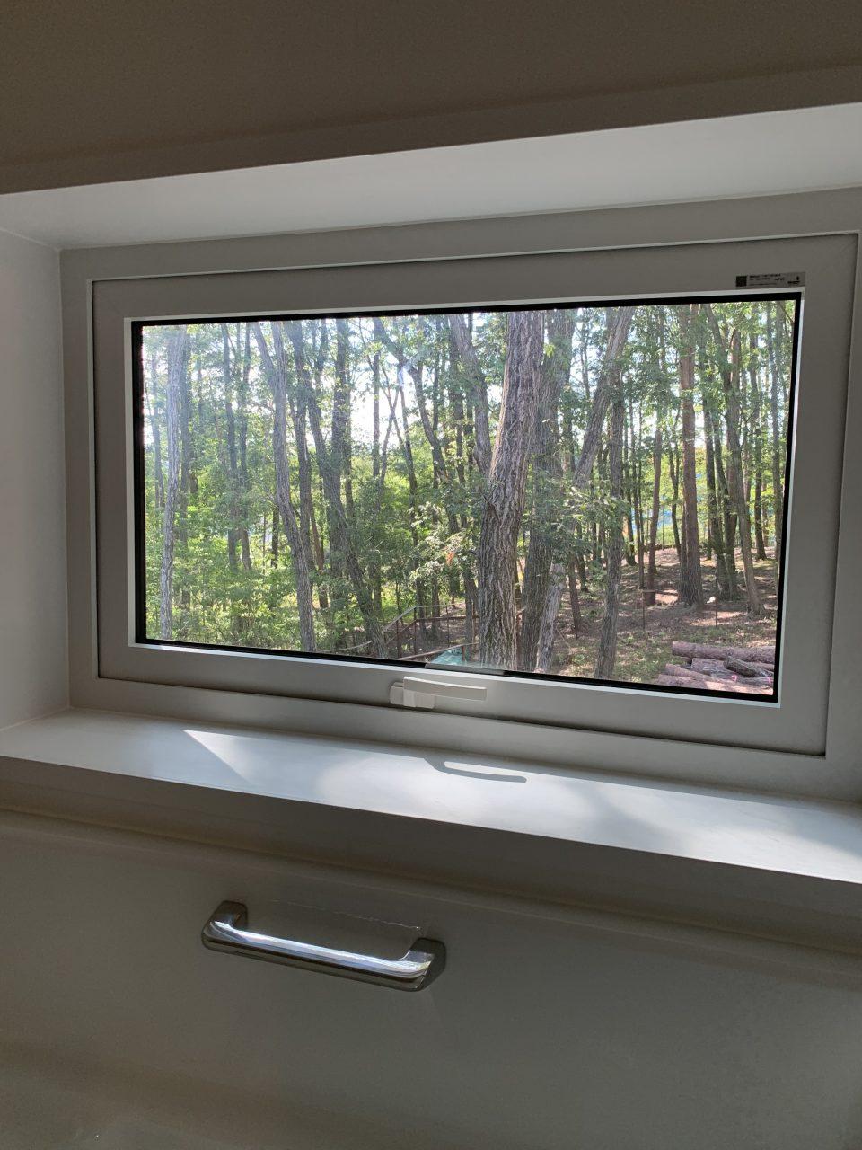 浴室の窓からは西の森やドッグランをのぞむことができる。