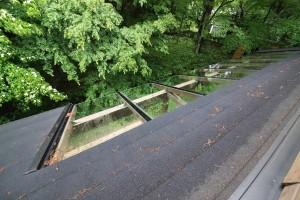 ウッドテラスの屋根を2Fから